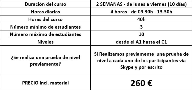 precios curso de español